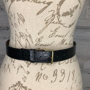 Vintage croc snake print black belt gold buckle